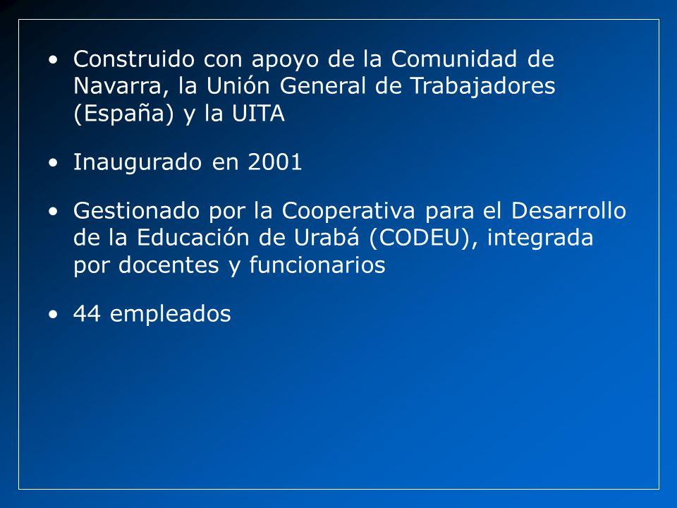 Construido con apoyo de la Comunidad de Navarra, la Unión General de Trabajadores (España) y la UITA Inaugurado en 2001 Gestionado por la Cooperativa para el Desarrollo de la Educación de Urabá (CODEU), integrada por docentes y funcionarios 44 empleados
