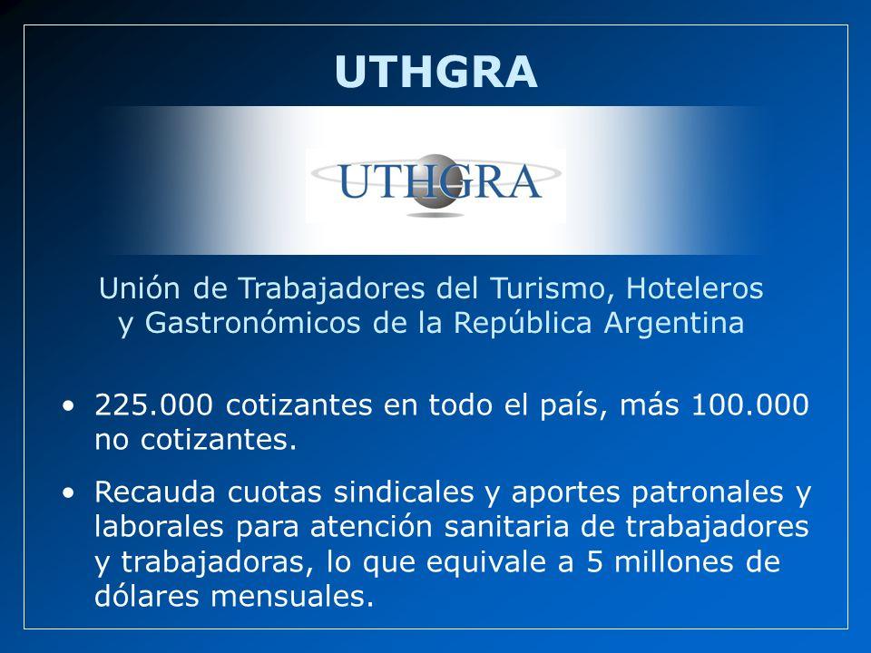 Unión de Trabajadores del Turismo, Hoteleros y Gastronómicos de la República Argentina UTHGRA 225.000 cotizantes en todo el país, más 100.000 no cotiz
