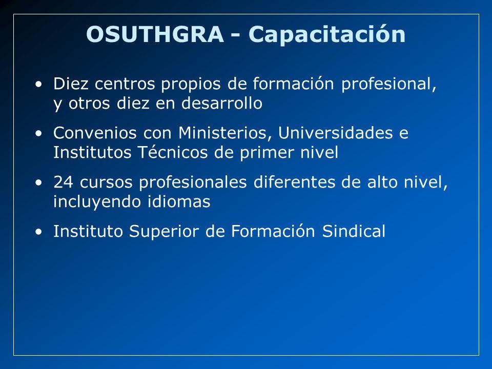 OSUTHGRA - Capacitación Diez centros propios de formación profesional, y otros diez en desarrollo Convenios con Ministerios, Universidades e Institutos Técnicos de primer nivel 24 cursos profesionales diferentes de alto nivel, incluyendo idiomas Instituto Superior de Formación Sindical