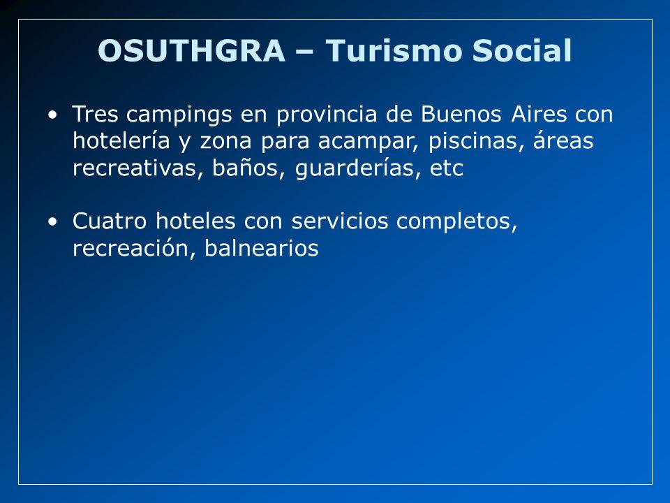 OSUTHGRA – Turismo Social Tres campings en provincia de Buenos Aires con hotelería y zona para acampar, piscinas, áreas recreativas, baños, guarderías, etc Cuatro hoteles con servicios completos, recreación, balnearios