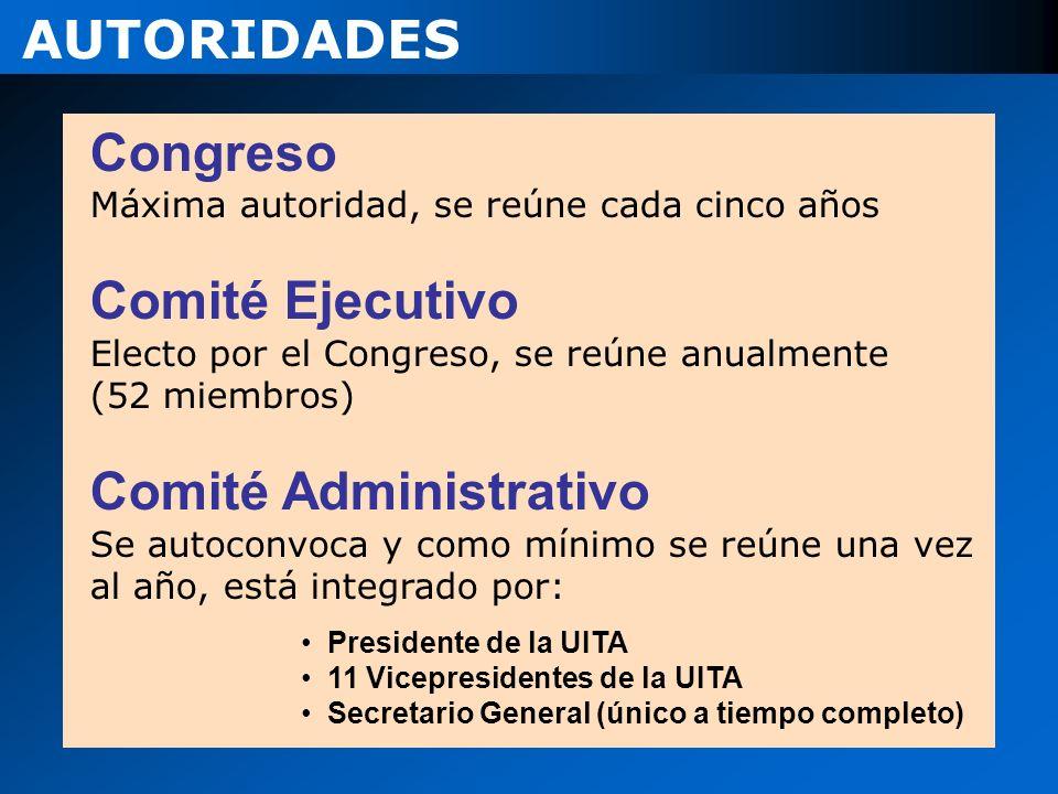 Congreso Máxima autoridad, se reúne cada cinco años Comité Ejecutivo Electo por el Congreso, se reúne anualmente (52 miembros) Comité Administrativo S