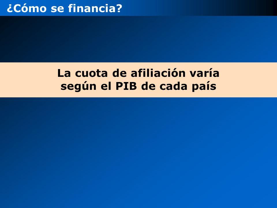 ¿Cómo se financia? La cuota de afiliación varía según el PIB de cada país
