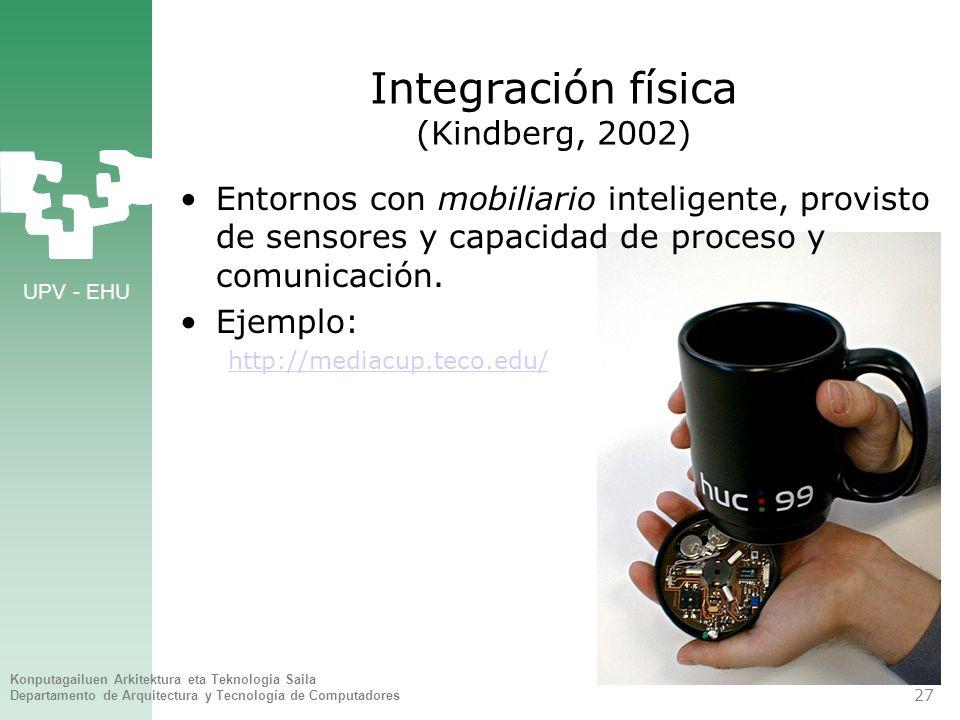 UPV - EHU Konputagailuen Arkitektura eta Teknologia Saila Departamento de Arquitectura y Tecnología de Computadores 27 Integración física (Kindberg, 2002) Entornos con mobiliario inteligente, provisto de sensores y capacidad de proceso y comunicación.