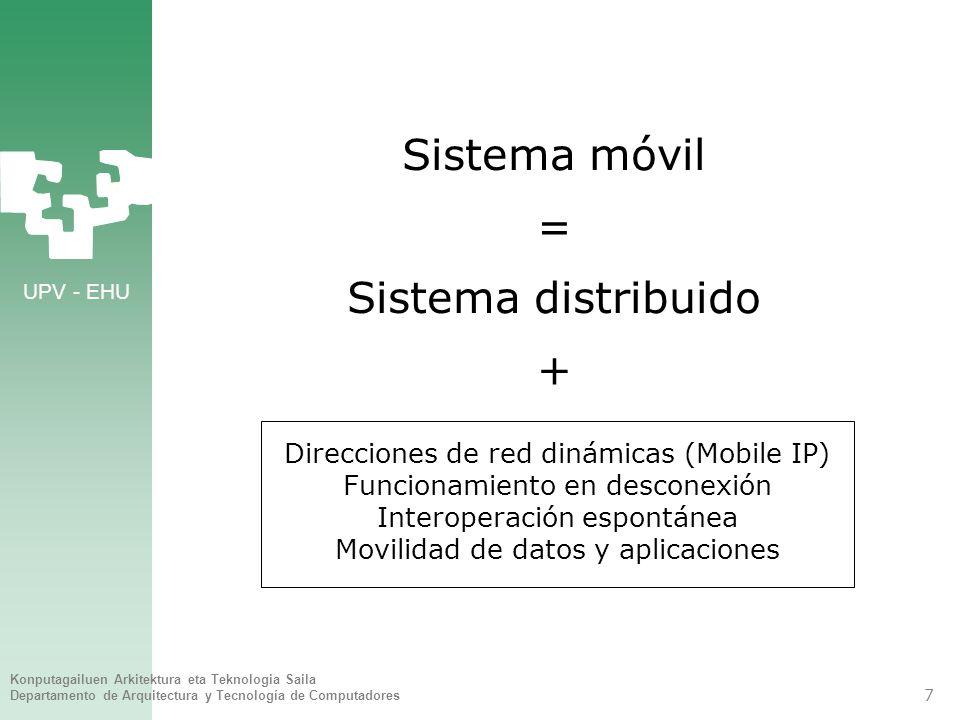 UPV - EHU Konputagailuen Arkitektura eta Teknologia Saila Departamento de Arquitectura y Tecnología de Computadores 7 Sistema móvil = Sistema distribuido + Direcciones de red dinámicas (Mobile IP) Funcionamiento en desconexión Interoperación espontánea Movilidad de datos y aplicaciones