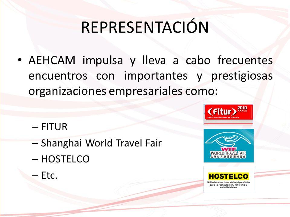 REPRESENTACIÓN AEHCAM impulsa y lleva a cabo frecuentes encuentros con importantes y prestigiosas organizaciones empresariales como: – FITUR – Shanghai World Travel Fair – HOSTELCO – Etc.
