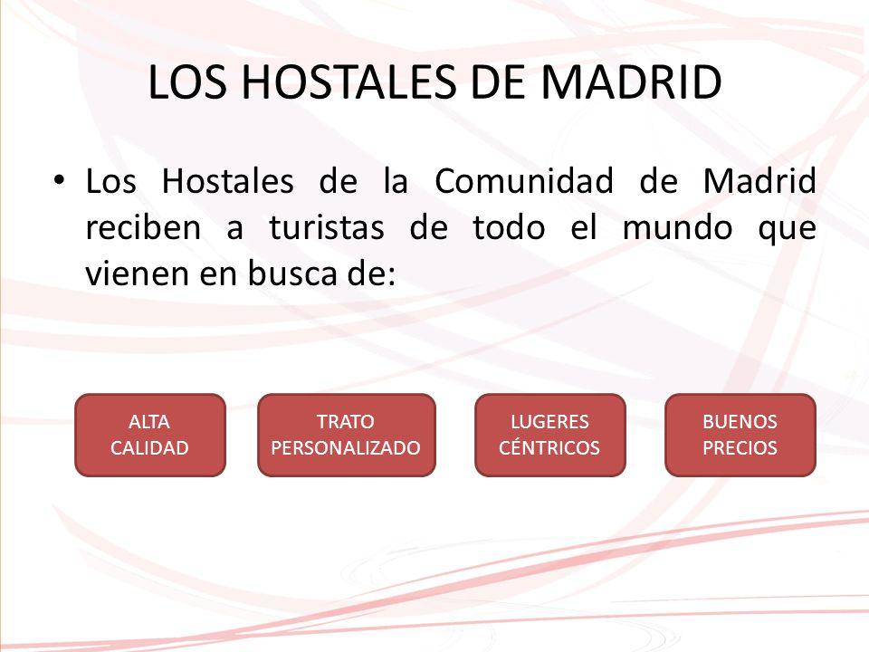 LOS HOSTALES DE MADRID Los Hostales de la Comunidad de Madrid reciben a turistas de todo el mundo que vienen en busca de: ALTA CALIDAD TRATO PERSONALIZADO LUGERES CÉNTRICOS BUENOS PRECIOS