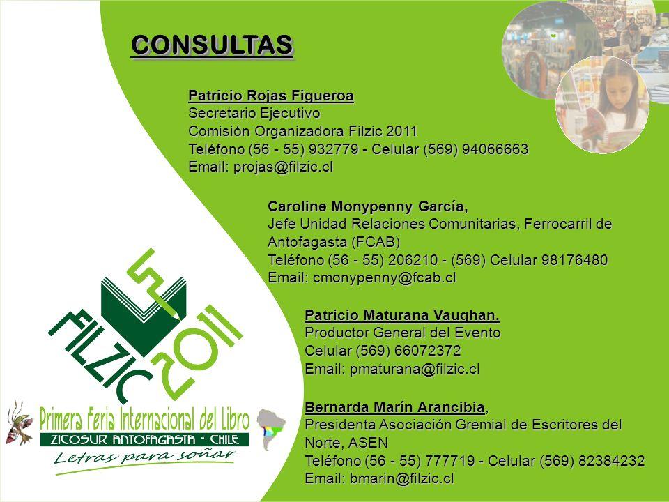 CONSULTASCONSULTAS Patricio Rojas Figueroa Secretario Ejecutivo Comisión Organizadora Filzic 2011 Teléfono (56 - 55) 932779 - Celular (569) 94066663 E