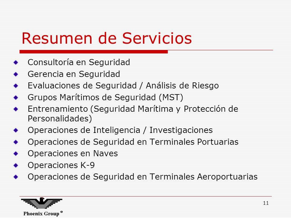 11 Resumen de Servicios Consultoría en Seguridad Gerencia en Seguridad Evaluaciones de Seguridad / Análisis de Riesgo Grupos Marítimos de Seguridad (M