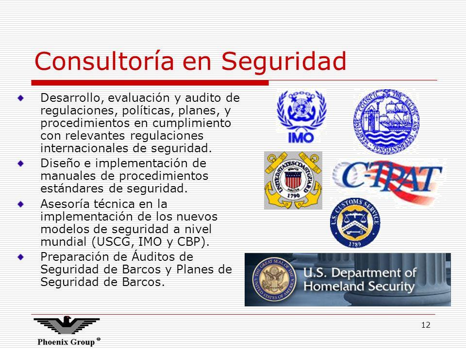 12 Consultoría en Seguridad Desarrollo, evaluación y audito de regulaciones, políticas, planes, y procedimientos en cumplimiento con relevantes regula