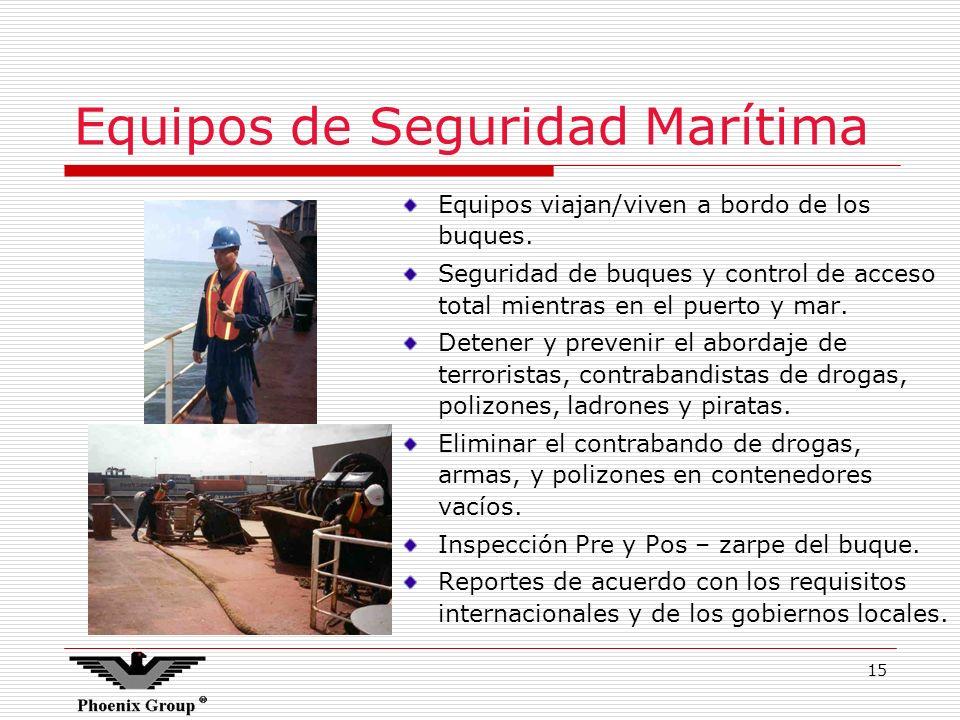 15 Equipos viajan/viven a bordo de los buques. Seguridad de buques y control de acceso total mientras en el puerto y mar. Detener y prevenir el aborda