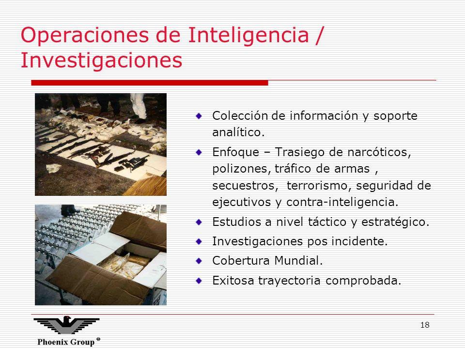 18 Operaciones de Inteligencia / Investigaciones Colección de información y soporte analítico. Enfoque – Trasiego de narcóticos, polizones, tráfico de