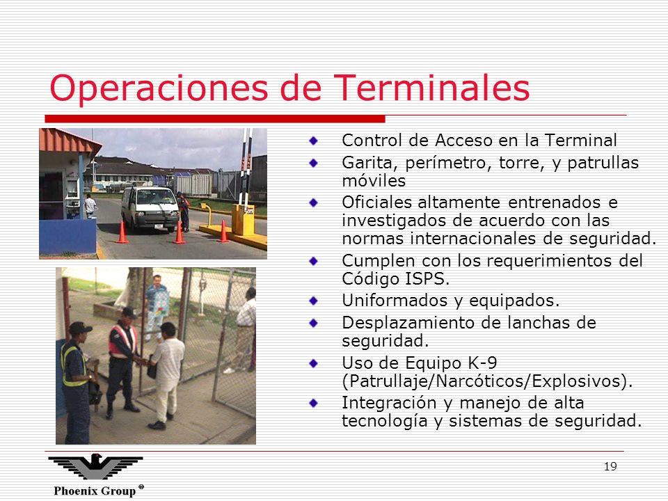 19 Operaciones de Terminales Control de Acceso en la Terminal Garita, perímetro, torre, y patrullas móviles Oficiales altamente entrenados e investiga