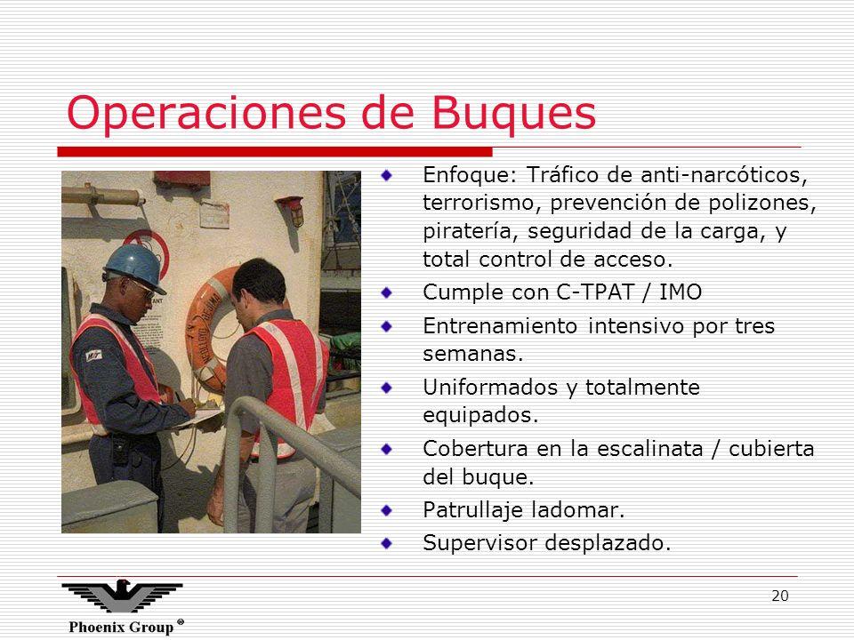 20 Operaciones de Buques Enfoque: Tráfico de anti-narcóticos, terrorismo, prevención de polizones, piratería, seguridad de la carga, y total control d