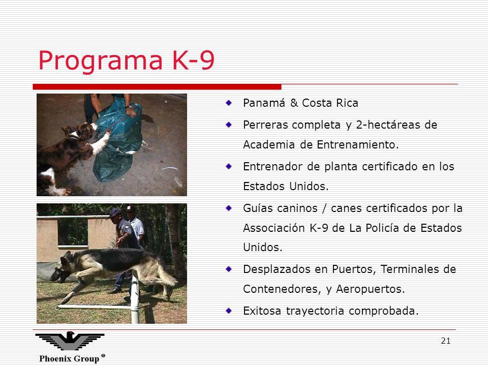 21 Programa K-9 Panamá & Costa Rica Perreras completa y 2-hectáreas de Academia de Entrenamiento. Entrenador de planta certificado en los Estados Unid