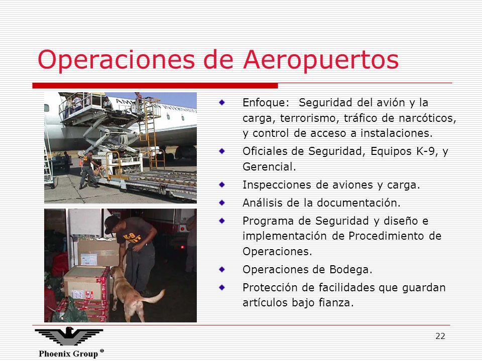 22 Operaciones de Aeropuertos Enfoque: Seguridad del avión y la carga, terrorismo, tráfico de narcóticos, y control de acceso a instalaciones. Oficial