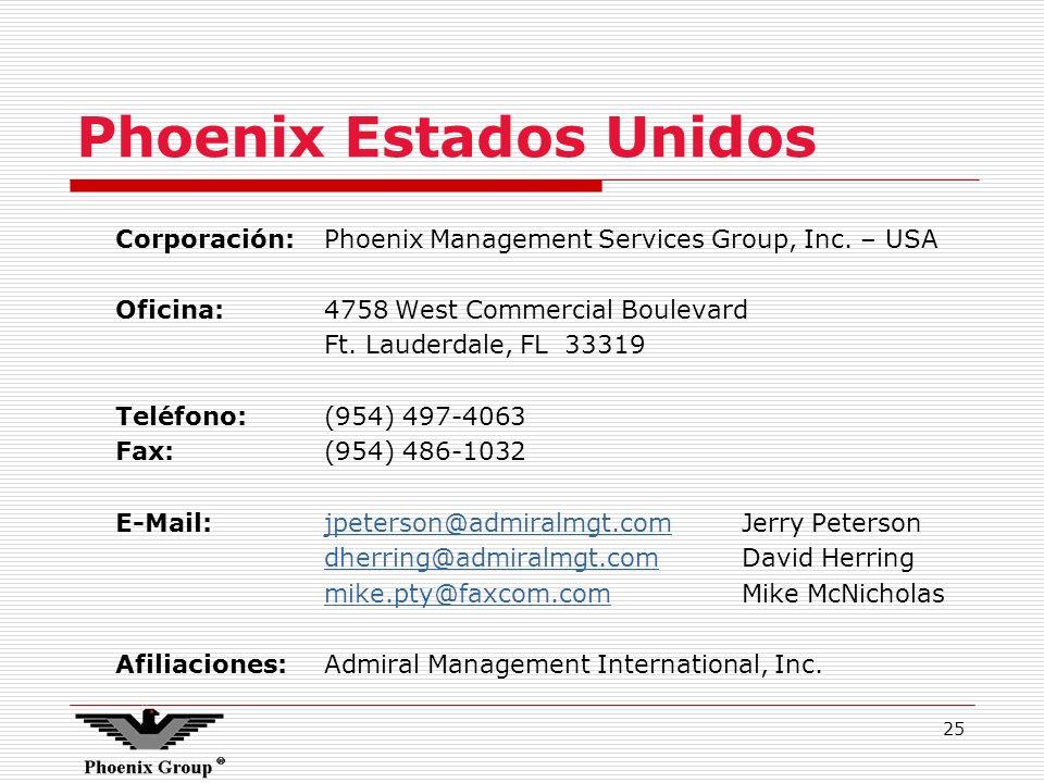 25 Phoenix Estados Unidos Corporación:Phoenix Management Services Group, Inc. – USA Oficina:4758 West Commercial Boulevard Ft. Lauderdale, FL 33319 Te
