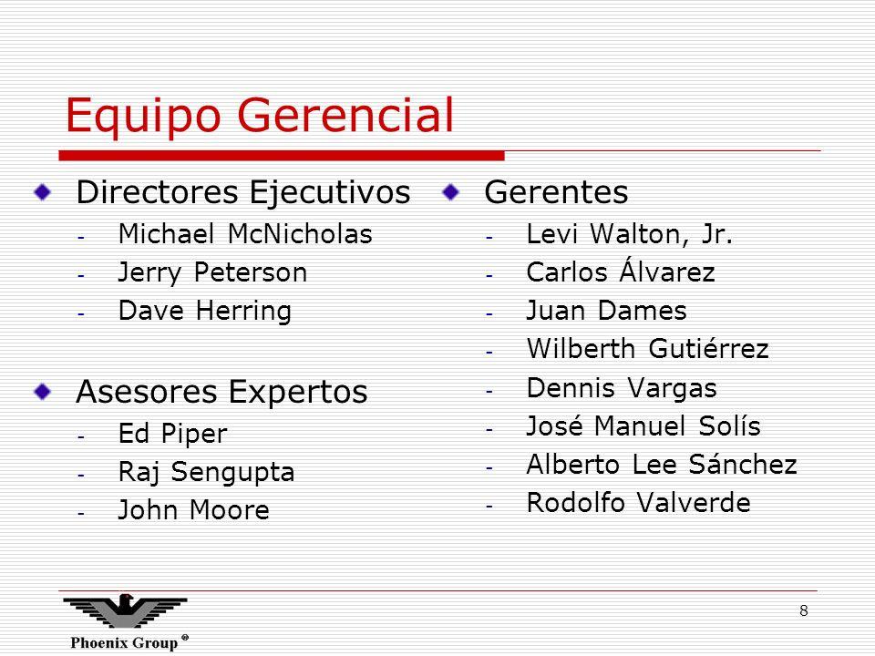 8 Equipo Gerencial Directores Ejecutivos - Michael McNicholas - Jerry Peterson - Dave Herring Asesores Expertos - Ed Piper - Raj Sengupta - John Moore