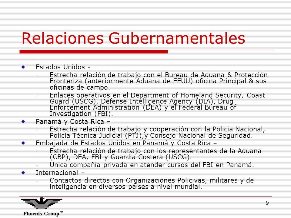 9 Relaciones Gubernamentales Estados Unidos - - Estrecha relación de trabajo con el Bureau de Aduana & Protección Fronteriza (anteriormente Aduana de