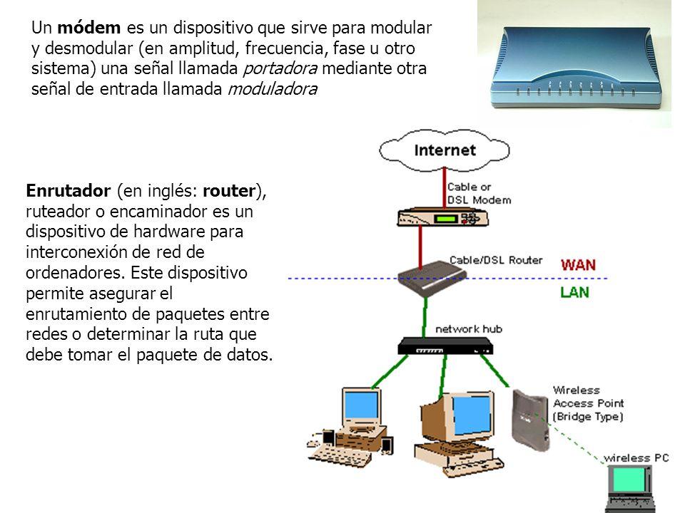 Un módem es un dispositivo que sirve para modular y desmodular (en amplitud, frecuencia, fase u otro sistema) una señal llamada portadora mediante otr