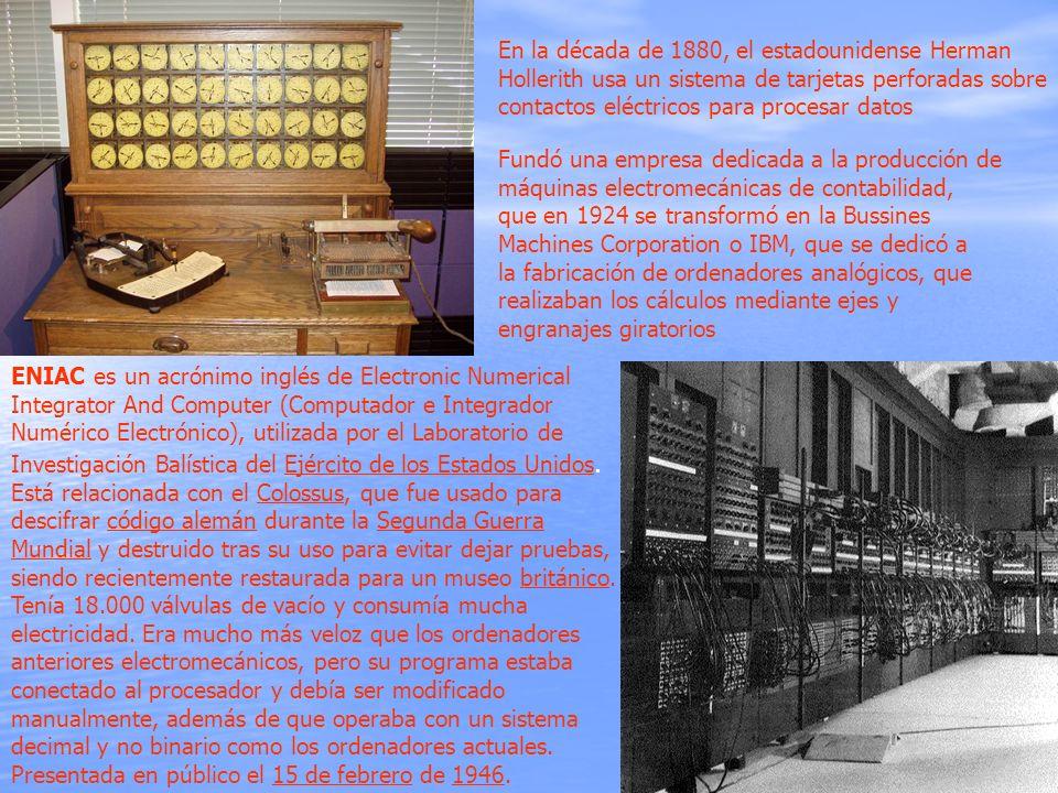 En la década de 1880, el estadounidense Herman Hollerith usa un sistema de tarjetas perforadas sobre contactos eléctricos para procesar datos Fundó un