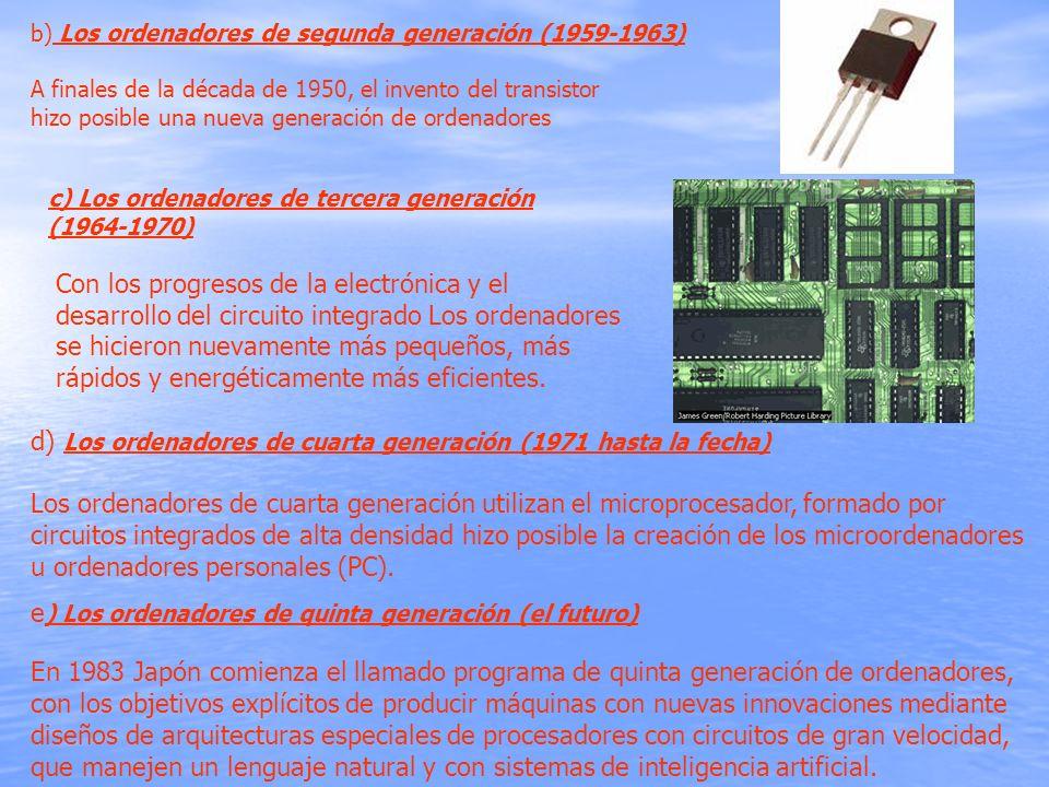 b) Los ordenadores de segunda generación (1959-1963) A finales de la década de 1950, el invento del transistor hizo posible una nueva generación de or