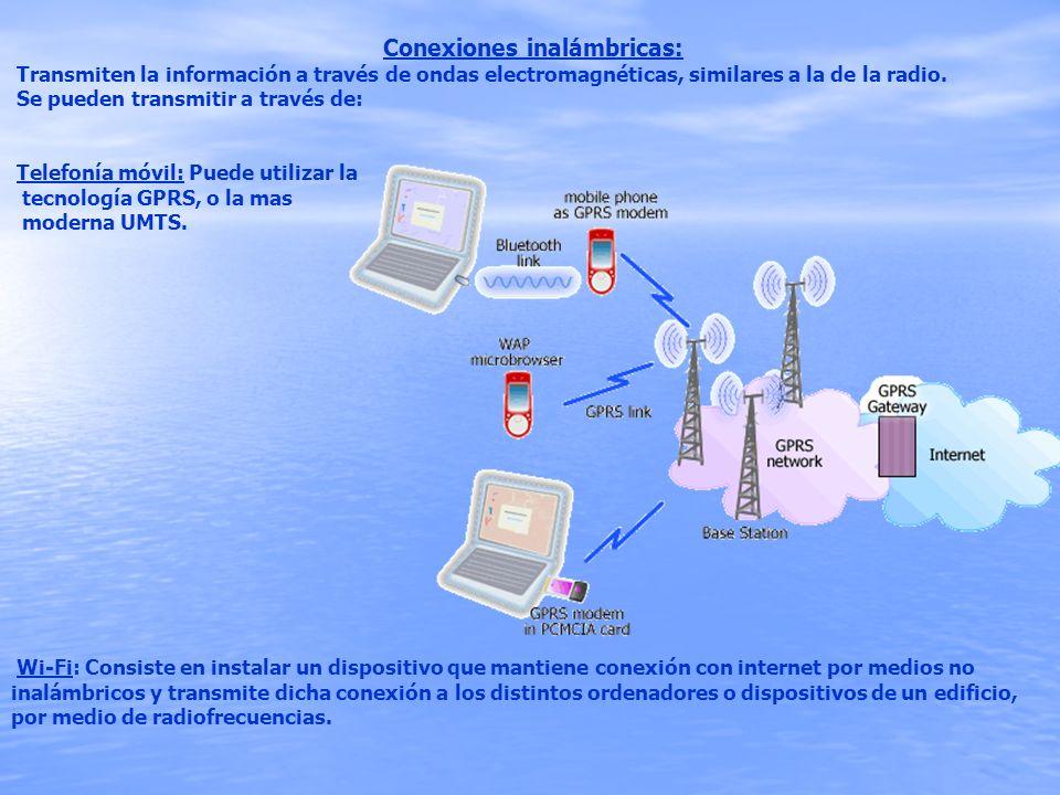 Conexiones inalámbricas: Transmiten la información a través de ondas electromagnéticas, similares a la de la radio. Se pueden transmitir a través de: