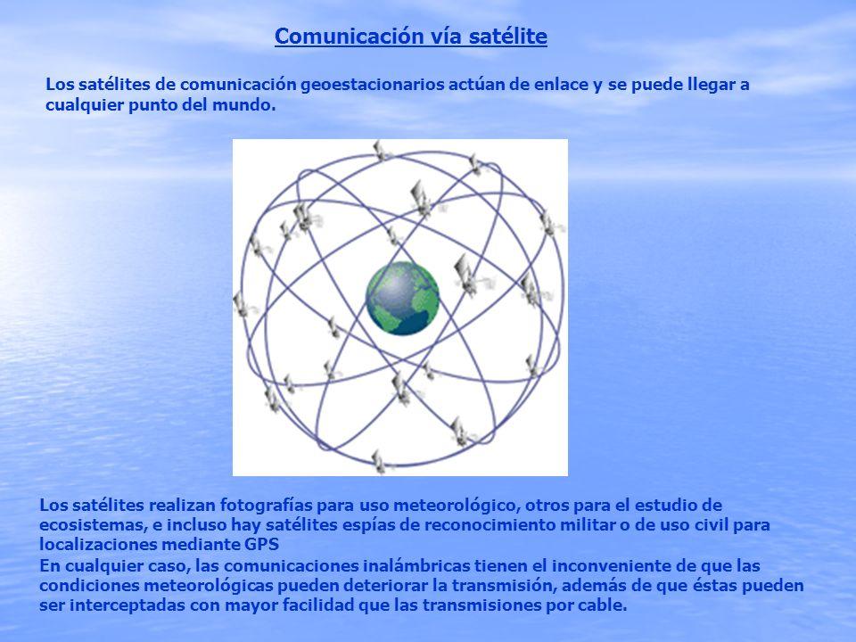 Comunicación vía satélite Los satélites de comunicación geoestacionarios actúan de enlace y se puede llegar a cualquier punto del mundo. En cualquier