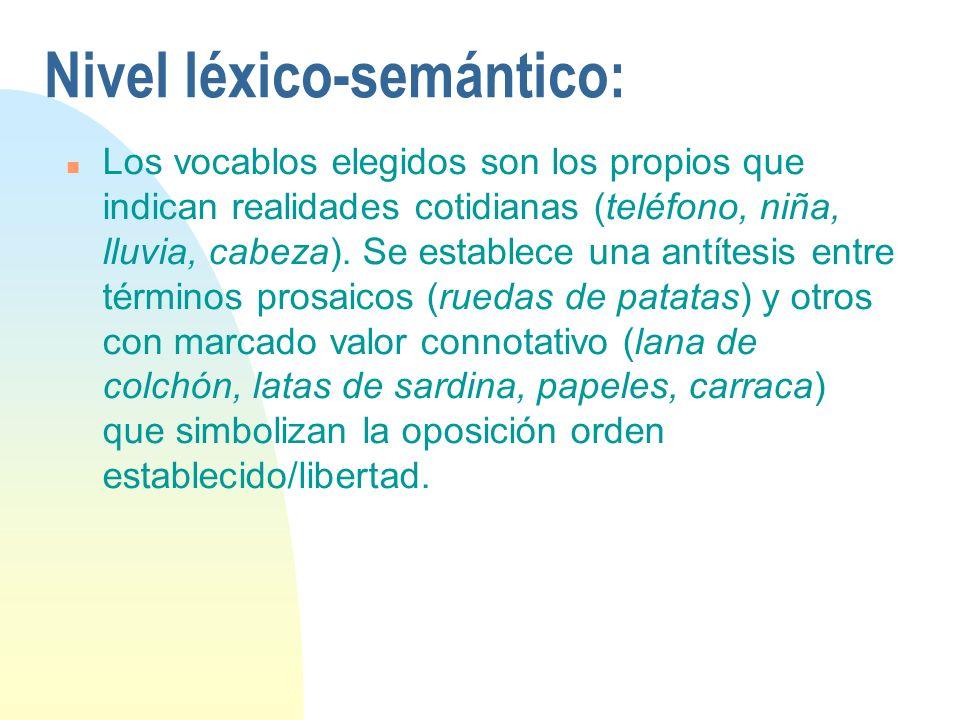 Nivel léxico-semántico: n Los vocablos elegidos son los propios que indican realidades cotidianas (teléfono, niña, lluvia, cabeza). Se establece una a