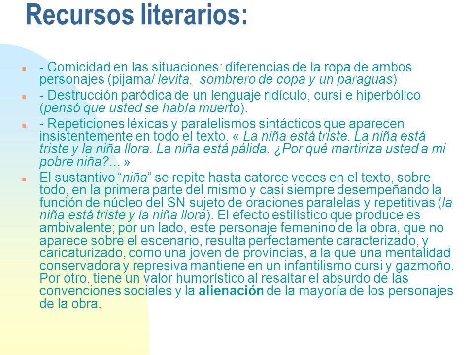 Recursos literarios: n - Comicidad en las situaciones: diferencias de la ropa de ambos personajes (pijama/ levita, sombrero de copa y un paraguas) n -