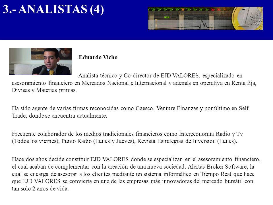 Eduardo Vicho Analista técnico y Co-director de EJD VALORES, especializado en asesoramiento financiero en Mercados Nacional e Internacional y además e