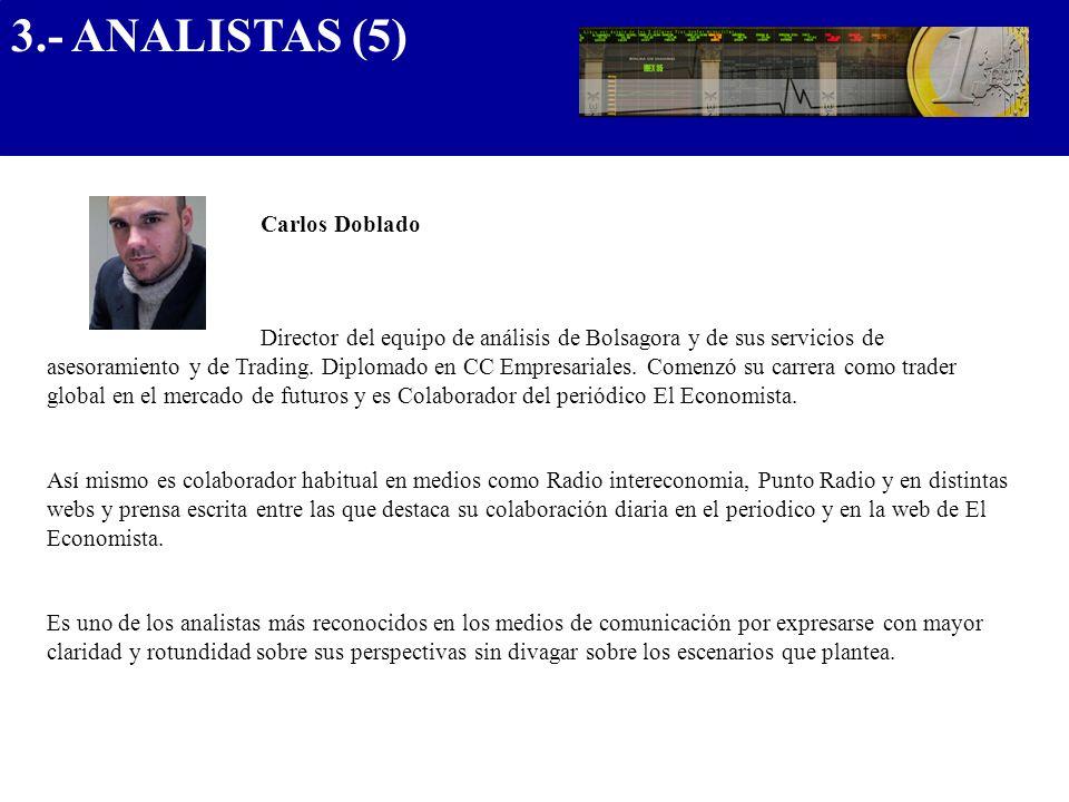 Carlos Doblado Director del equipo de análisis de Bolsagora y de sus servicios de asesoramiento y de Trading. Diplomado en CC Empresariales. Comenzó s