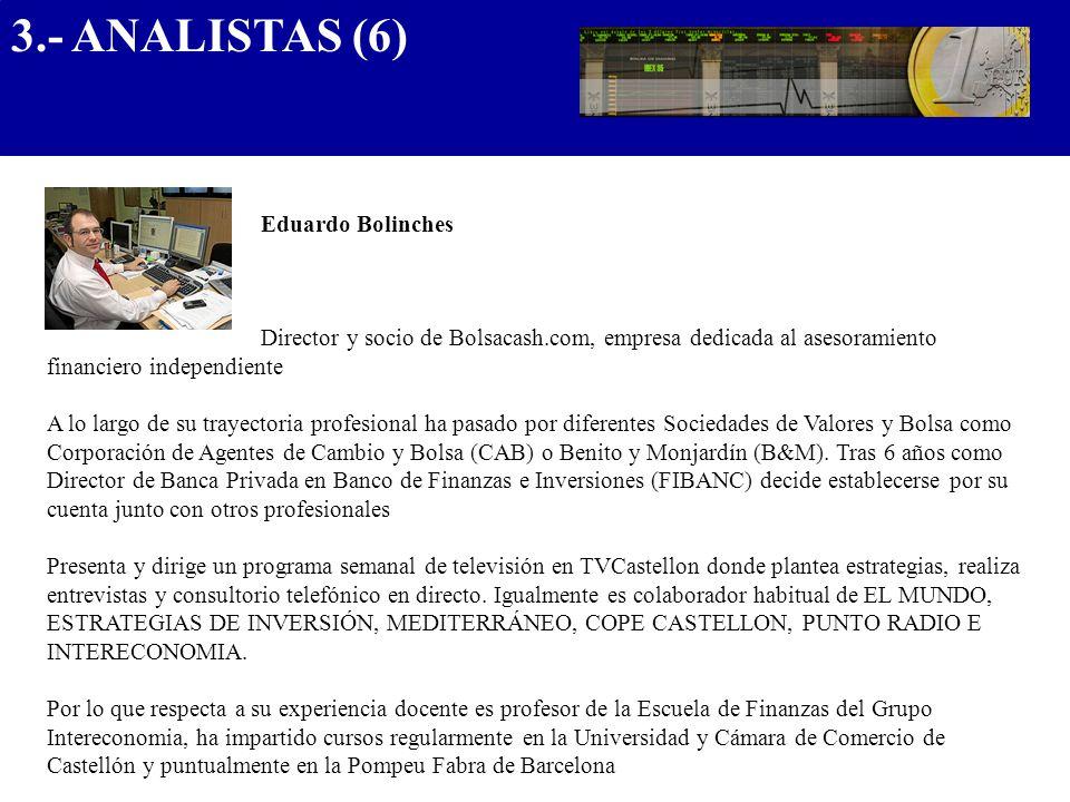 Eduardo Bolinches Director y socio de Bolsacash.com, empresa dedicada al asesoramiento financiero independiente A lo largo de su trayectoria profesion