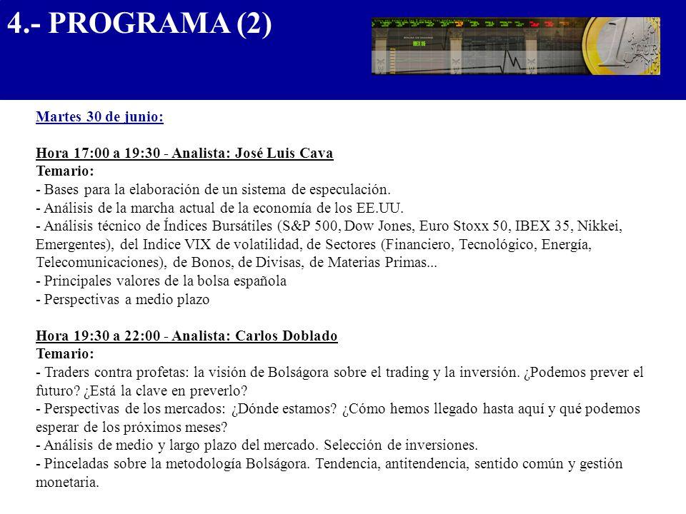 4.- PROGRAMA (2).................................... Martes 30 de junio: Hora 17:00 a 19:30 - Analista: José Luis Cava Temario: - Bases para la elabor