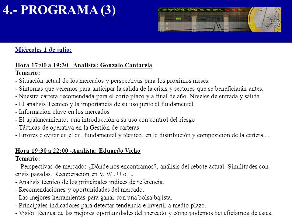 4.- PROGRAMA (3).................................... Miércoles 1 de julio: Hora 17:00 a 19:30 - Analista: Gonzalo Cantarela Temario: - Situación actua