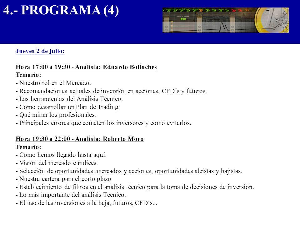 4.- PROGRAMA (4).................................... Jueves 2 de julio: Hora 17:00 a 19:30 - Analista: Eduardo Bolinches Temario: - Nuestro rol en el