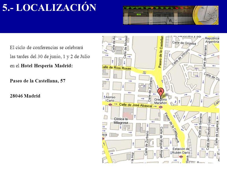El ciclo de conferencias se celebrará las tardes del 30 de junio, 1 y 2 de Julio en el Hotel Hesperia Madrid: Paseo de la Castellana, 57 28046 Madrid