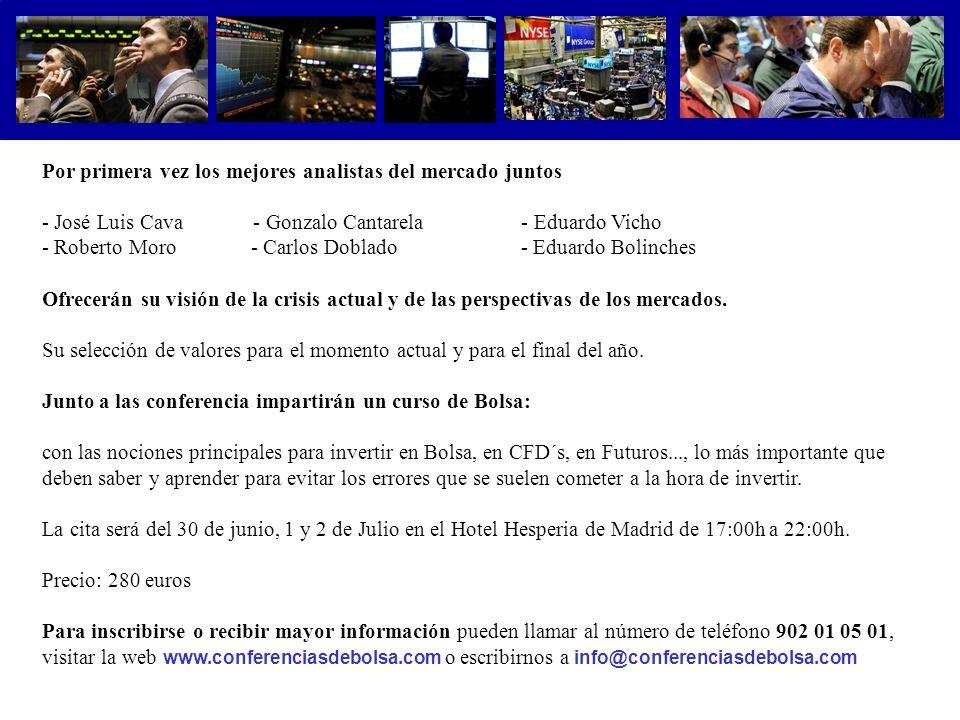 .................................... Por primera vez los mejores analistas del mercado juntos - José Luis Cava - Gonzalo Cantarela - Eduardo Vicho - R
