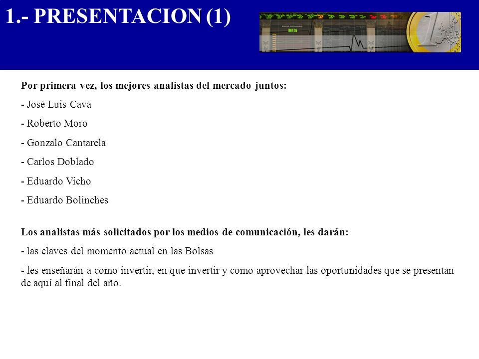 1.- PRESENTACION (1).................................... Por primera vez, los mejores analistas del mercado juntos: - José Luis Cava - Roberto Moro -