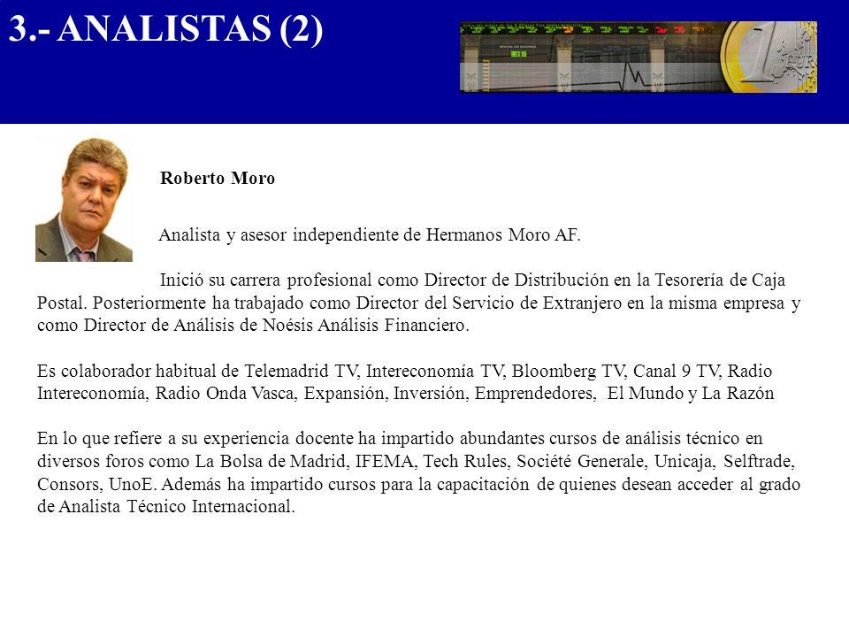 Roberto Moro Analista y asesor independiente de Hermanos Moro AF. Inició su carrera profesional como Director de Distribución en la Tesorería de Caja
