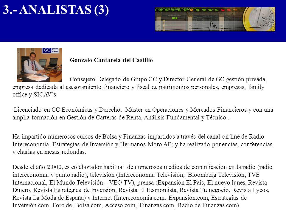 Gonzalo Cantarela del Castillo Consejero Delegado de Grupo GC y Director General de GC gestión privada, empresa dedicada al asesoramiento financiero y