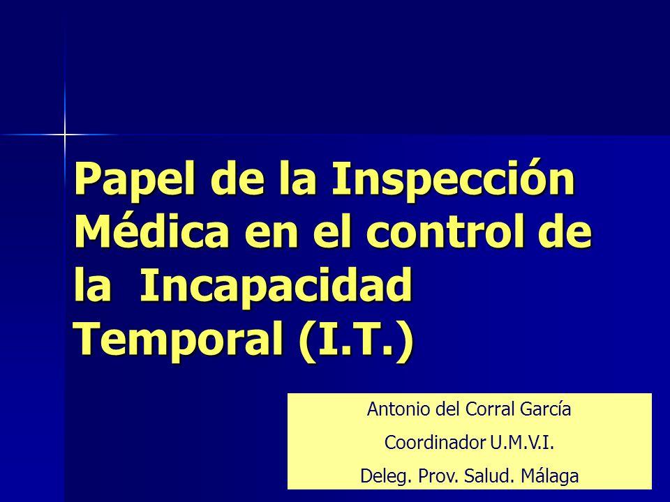 Antonio del Corral GarcíaPapel de la Inspección Médica en el control de la Incapacidad Temporal 22 Actuaciones de la Inspección respecto a la Administración Programas específicos de actuación –Control del Absentismo del Personal del SSPA –Control del Personal de la Junta de Andalucía