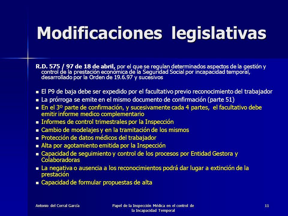 Antonio del Corral GarcíaPapel de la Inspección Médica en el control de la Incapacidad Temporal 11 R.D.