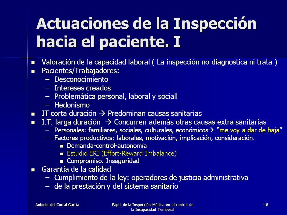 Antonio del Corral GarcíaPapel de la Inspección Médica en el control de la Incapacidad Temporal 18 Actuaciones de la Inspección hacia el paciente.