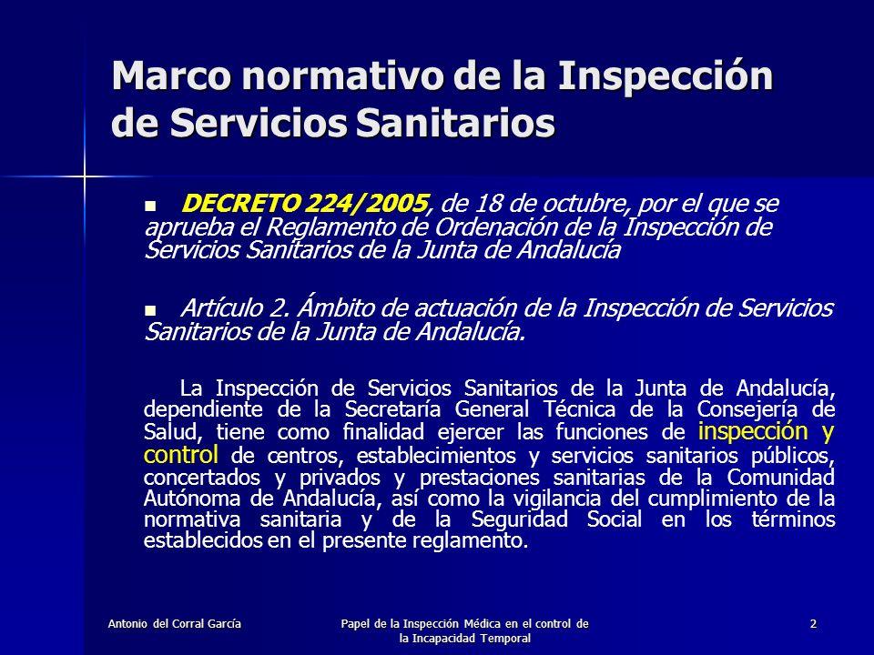 Antonio del Corral GarcíaPapel de la Inspección Médica en el control de la Incapacidad Temporal 2 DECRETO 224/2005, de 18 de octubre, por el que se aprueba el Reglamento de Ordenación de la Inspección de Servicios Sanitarios de la Junta de Andalucía Artículo 2.