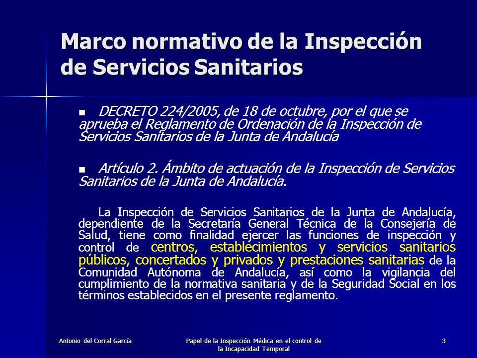 Antonio del Corral GarcíaPapel de la Inspección Médica en el control de la Incapacidad Temporal 4 Marco normativo de la Inspección de Servicios Sanitarios DECRETO 224/2005, de 18 de octubre, por el que se aprueba el Reglamento de Ordenación de la Inspección de Servicios Sanitarios de la Junta de Andalucía Artículo 2.