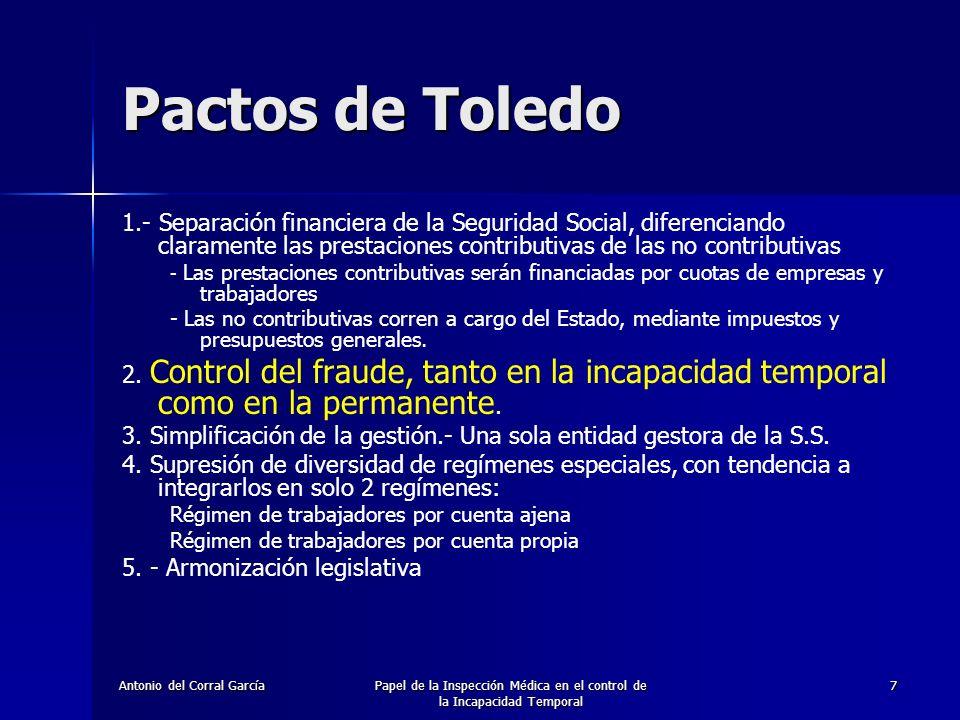 Antonio del Corral GarcíaPapel de la Inspección Médica en el control de la Incapacidad Temporal 8 Pactos de Toledo: Medidas 1.