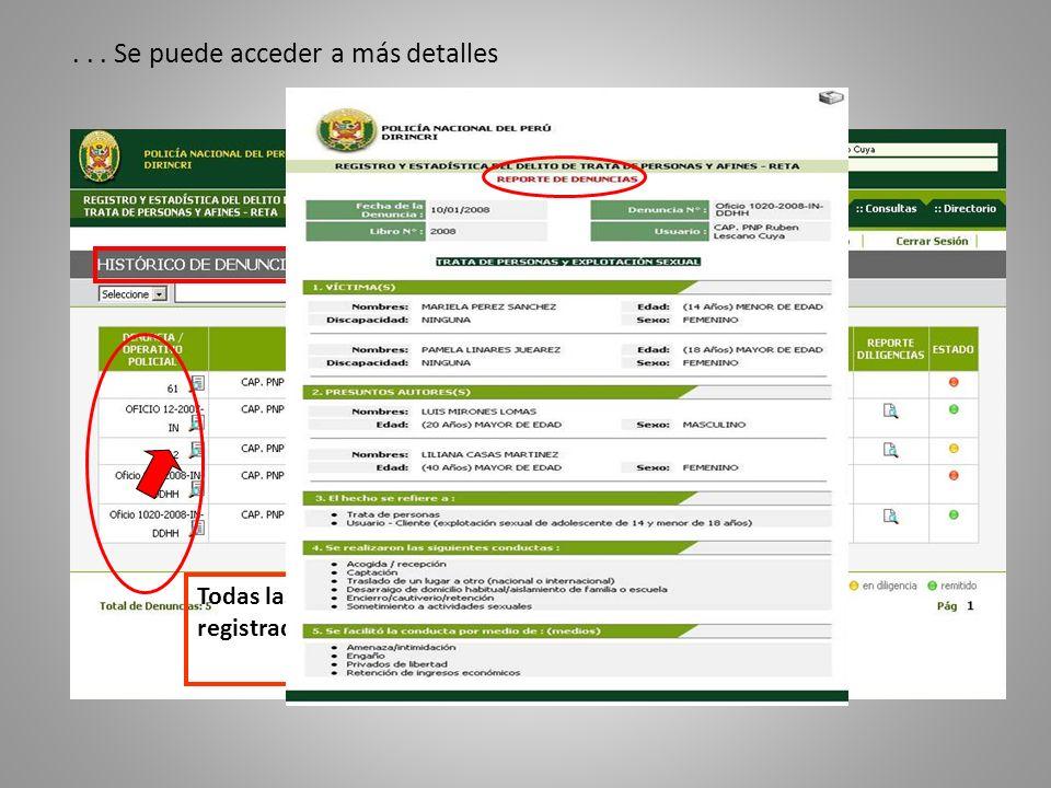 Todas las denuncias registradas... Se puede acceder a más detalles