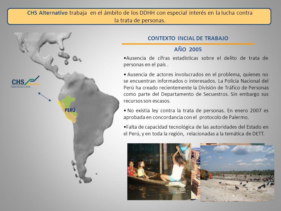 Ante esta situación, CHS Alternativo con el apoyo de la Cooperación Internacional crea un sistema de registro estadístico e inicia el levantamiento de información de Trata y Tráfico en el Perú.