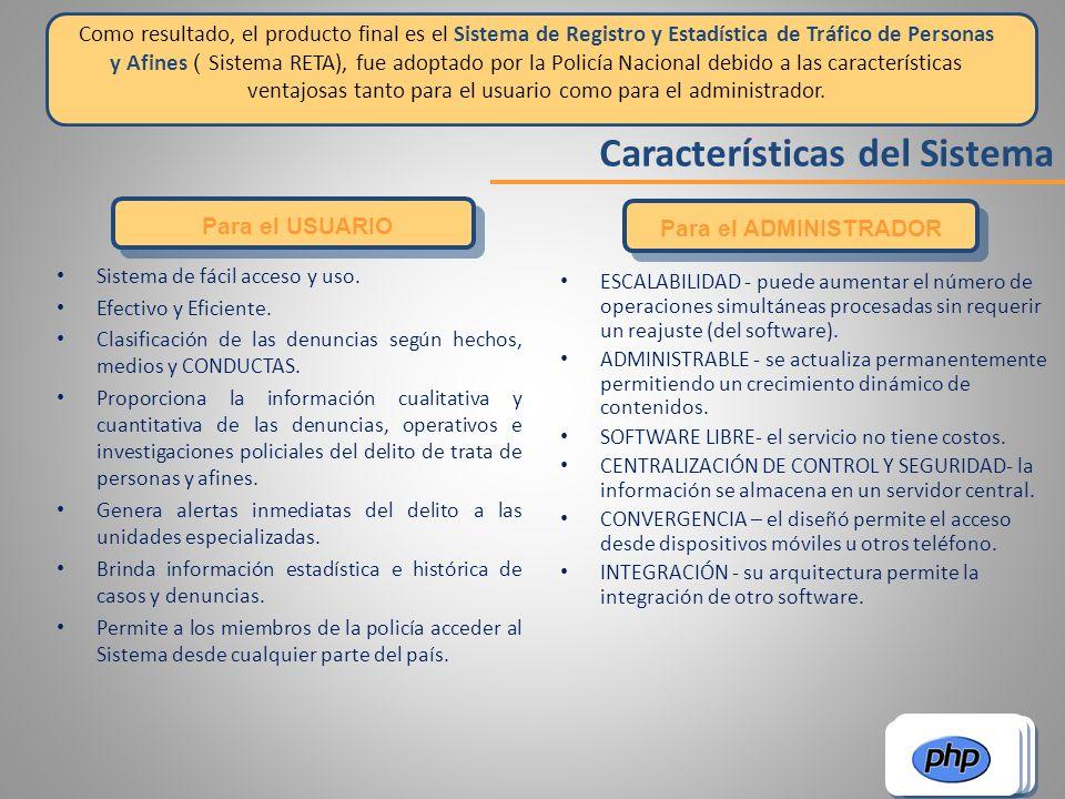 Características del Sistema Para el USUARIO Para el ADMINISTRADOR ESCALABILIDAD - puede aumentar el número de operaciones simultáneas procesadas sin r