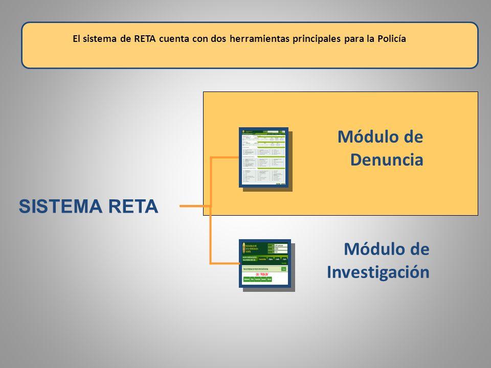 SISTEMA RETA El sistema de RETA cuenta con dos herramientas principales para la Policía Módulo de Denuncia Módulo de Investigación